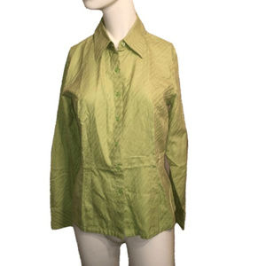 Talbots Button Down Top Lime Green Size 6